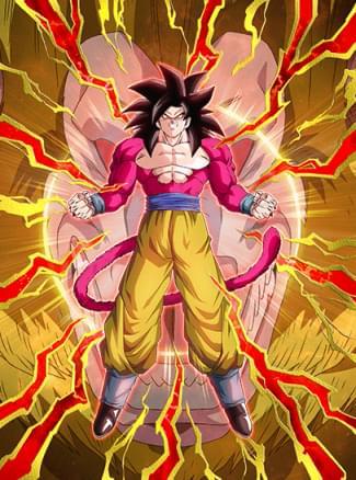 『限界を超えたサイヤパワー』超フルパワーサイヤ人4孫悟空のカード絵(立ち絵)