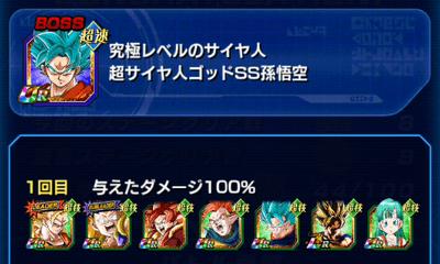 バーチャルドッカンLEVEL3_超サイヤ人ゴッドSS孫悟空攻略PT
